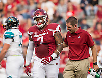 Hawgs Illustrated/BEN GOFF <br /> Briston Guidry, Arkansas defensive lineman, leaves the field with an injury in the second quarter Saturday, Nov. 4, 2017, at Reynolds Razorback Stadium in Fayetteville.