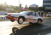 May 18, 2012; Topeka, KS, USA: NHRA super stock driver Pete Peery during qualifying for the Summer Nationals at Heartland Park Topeka. Mandatory Credit: Mark J. Rebilas-