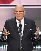 Former Mayor Rudolph Giuliani participates in a rehearsal prior to speaking at the 2016 Republican National Convention held at the Quicken Loans Arena in Cleveland, Ohio on Monday, July 18, 2016.<br /> Credit: Ron Sachs / CNP<br /> (RESTRICTION: NO New York or New Jersey Newspapers or newspapers within a 75 mile radius of New York City)