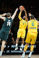 Melbourne, 15 August 2015 - Patty MILLS of Australia takes a shot in game one of the 2015 FIBA Oceania Championships in men's basketball between the Australian Boomers and the New Zealand Tall Blacks at Rod Laver Arena in Melbourne, Australia. Aus def NZ 71-59. (Photo Sydney Low / sydlow.com)