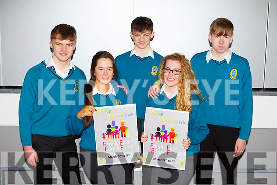 Mercy Mounthawk students, Luke Doherty, Sarah Healy, Keevan McElligott, Meavh McElligott and Louie Byrne launch the Family Week at the school on Monday last and it will take place in the school from March 5th to the 9th.