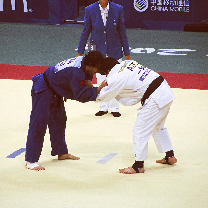 Paralympics Day 3 - Beijing 2008<br /> French judoka O. Cugnon de S&eacute;vricourt against Tofig Mammadov<br /> French judoka Olivier Cugnon de S&eacute;vricourt against Tofig Mammadov (Aze) in the final table B of men -90kg. Later in the day the french competitor will take the bronze medal against Anatoly Shevchenko (Ukr).<br /> September 9 2008.<br /> High resolution available