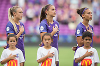 Orlando, FL - Saturday August 05, 2017: Rachel Hill, Alex Morgan, Kristen Edmonds during a regular season National Women's Soccer League (NWSL) match between the Orlando Pride and the Chicago Red Stars at Orlando City Stadium.