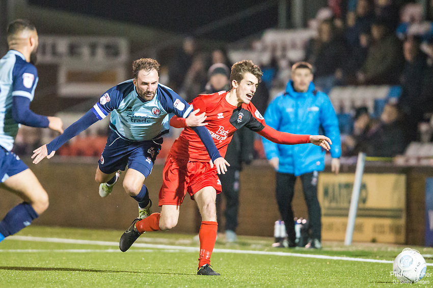Josh Payne (Crawley) & Harry Ransom (Eastbourne) during Parafix Sussex Senior Cup Quarter Final between Eastbourne Borough FC & Crawley Town FC on Tuesday 09 January 2018 at Priory Lane. Photo by Jane Stokes (DJ Stotty Images)