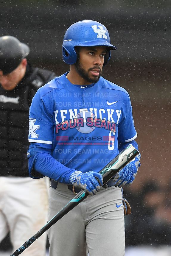 Left fielder Tristan Pompey (6) of the Kentucky Wildcats in a game in the rain against the University of South Carolina Upstate Spartans on Saturday, February 17, 2018, at Cleveland S. Harley Park in Spartanburg, South Carolina. Kentucky won, 6-5, in 10 innings. (Tom Priddy/Four Seam Images)