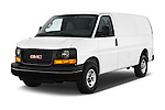2018 GMC Savana-Cargo Work-Van-2500 4 Door Cargo Van Angular Front stock photos of front three quarter view