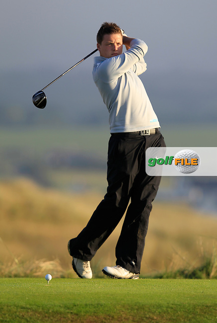 Dean McMahon (Castletroy) on the 2nd tee during the South of Ireland Amateur Open Championship First Round at Lahinch Golf Club  27th July 2013 <br /> Picture:  Thos Caffrey / www.golffile.ie