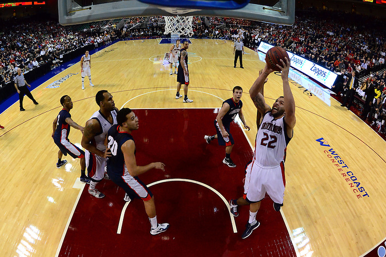 March 5, 2012; Las Vegas, NV, USA; Saint Mary's Gaels forward Rob Jones (22) shoots the ball against the Gonzaga Bulldogs during the WCC Basketball Championships at Orleans Arena.