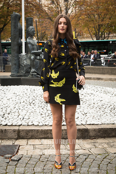 Millie Brady attend Miu Miu Show Front Row - Paris Fashion Week  2016.<br /> October 7, 2015 Paris, France<br /> Picture: Kristina Afanasyeva / Featureflash