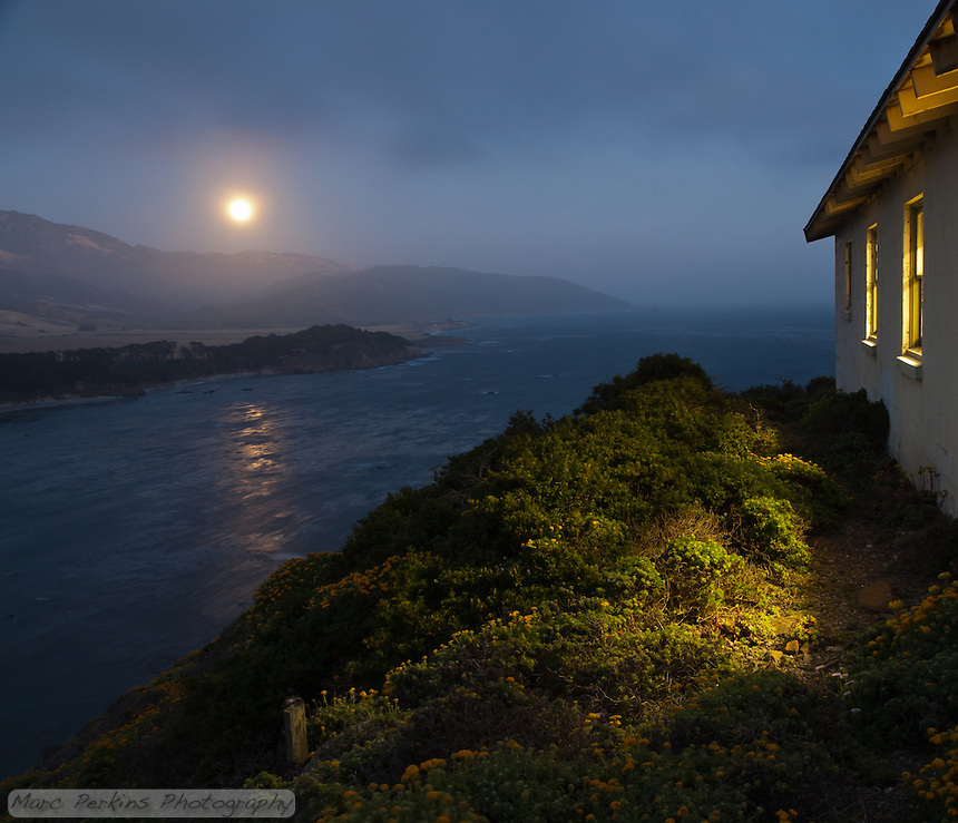 The rising full moon is reflected off of the Pacific Ocean within view of one of the buildings at Point Sur Light Station (the barracks).  I love how golden light streams out of the building's windows, illuminating the native plants on the hillside.  This image is the ultimate summary of the station's moon rise tours: they're just gorgeous, and you should go on one if you can!