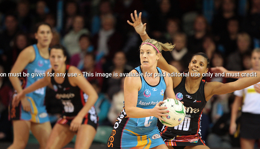 18.06.2012 Steel's Phillipa Finch and Tactix's Stacey Francis in action during the ANZ Champs netball match between the Steel and Tactix played atStadium Southland's Velodrome in Invercargill. Mandatory Photo Credit ©Michael Bradley.