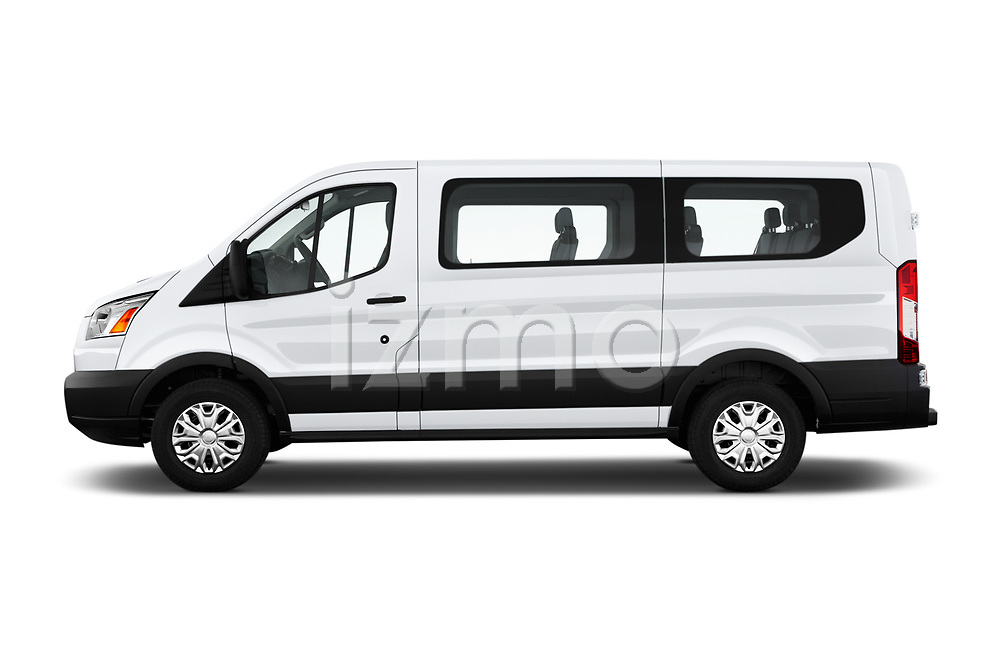 Car driver side profile view of a 2019 Ford Transit Wagon 150 XLT Wagon Low Roof Sliding Pass. 130 5 Door Passenger Van