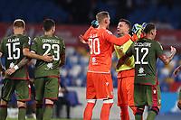 Cagliari celebrate at the end of the match<br /> Napoli 25-9-2019 Stadio San Paolo <br /> Football Serie A 2019/2020 <br /> SSC Napoli - Cagliari SC<br /> Photo Cesare Purini / Insidefoto