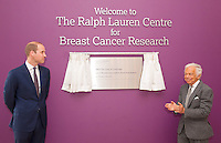 17 May 2016 - London, England - Prince William Duke of Cambridge (left) and Ralph Lauren unveil a plaque during a visit to the Royal Marsden NHS Foundation Trust, in Chelsea, west London, as they mark the opening of the hospital's new centre for breast cancer research named after the fashion designer. The Ralph Lauren Centre for Breast Cancer Research was funded by supporters of the Royal Marsden Cancer Charity, including a generous donation from the designer. William has a long association with the hospital, he became the Royal Marsden's president in 2007, following in the footsteps of his mother Diana, Princess of Wales, who held the same position from 1989 until her death in 1997. Photo Credit: ALPR/AdMedia