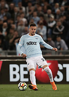 Calcio, Serie A: S.S. Lazio - A.S. Roma, stadio Olimpico, Roma, 15 aprile 2018. <br /> Lazio's Sergej Milinkovic in action during the Italian Serie A football match between S.S. Lazio and A.S. Roma at Rome's Olympic stadium, Rome on April 15, 2018.<br /> UPDATE IMAGES PRESS/Isabella Bonotto