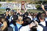 02 December 2012: UNC's Amber Brooks holds the championship trophy overhead while celebrating with teammates. The University of North Carolina Tar Heels played the Penn State University Nittany Lions at Torero Stadium in San Diego, California in the 2012 NCAA Division I Women's Soccer College Cup championship game. UNC won the game 4-1.
