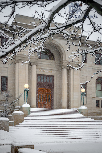 Feb. 1, 2015; Bond Hall in snow (Photo by Matt Cashore/University of Notre Dame)
