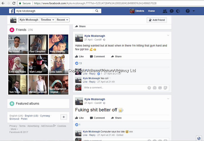 """Pictured: The remarks Kyle McDonagh wrote on his facebook taunting police<br /> Re: A burglar was caught after his fingerprints were found on a biscuit tin that had been dumped in a garden.<br /> He then went on the run and posted pictures and messages to police on his Facebook page.<br /> The tin was found in the garden of a house that had been burgled in the Splott area of Cardiff.<br /> A laptop and a bike were also taken in the burglary at the house on Gwendoline Street in April.<br /> Kyle McDonagh's fingerprints were identified following forensic tests, and a search for him was launched.<br /> The 28-year-old evaded officers for a number of weeks, and even tried to goad police with photographs that he posted using social media.<br /> It is understood he took a picture next to a police van and posted it.<br /> And he also wrote: """"Another chase at least it's keeping me fit in suppose."""""""