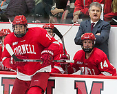 Jared Fiegl (Cornell - 18), Mike Schafer (Cornell - Head Coach), Mitch Vanderlaan (Cornell - 14) - The Harvard University Crimson defeated the visiting Cornell University Big Red on Saturday, November 5, 2016, at the Bright-Landry Hockey Center in Boston, Massachusetts.