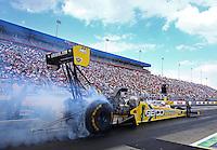 Sep 15, 2013; Charlotte, NC, USA; NHRA top fuel dragster driver Morgan Lucas during the Carolina Nationals at zMax Dragway. Mandatory Credit: Mark J. Rebilas-