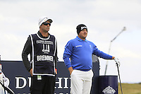 Merrick Bremner (RSA) and his caddie on the 15th tee during Round 4 of the 2015 Alfred Dunhill Links Championship at the Old Course in St. Andrews in Scotland on 4/10/15.<br />