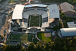 Seattle with aerial view of the newly renovated Husky Stadium renovated Husky Stadium
