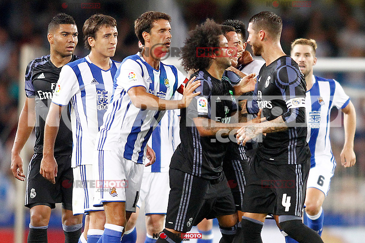 Real Sociedad's players have words with Real Madrid's Sergio Ramos during La Liga match. August 21,2016. (ALTERPHOTOS/Acero) /NORTEPHOTO