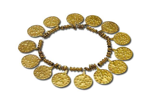 Bronze Age Hattian gold necklace from Grave E,  possibly a Bronze Age Royal grave (2500 BC to 2250 BC) - Alacahoyuk - Museum of Anatolian Civilisations, Ankara, Turkey. Against a white background