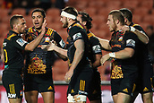 June 3rd 2017, FMG Stadium, Waikato, Hamilton, New Zealand; Super Rugby; Chiefs versus Waratahs;  The Chiefs celebrate a try scored by flanker Mitchell Brown (M) during the Super Rugby rugby match