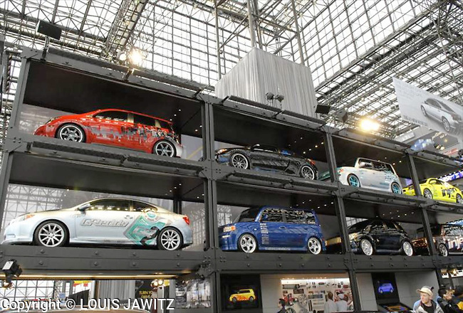 Transportation, Horizontal,  Parking Lot<br />  indoors javitz center n.y.c. ny cars stacked 2007 car show javitz
