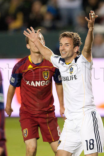 06.11.2011.  - Carson, California, USA.  Los Angeles Galaxy forward Mike Magee #18 lobbies the ref on what he believed was a missed call during the Major League Soccer Western Confrence Final game between Real Salt Lake and the Los Angeles Galaxy at the Home Depot Center. The Galaxy went on to defeat Salt Lake with a final score of 3-1