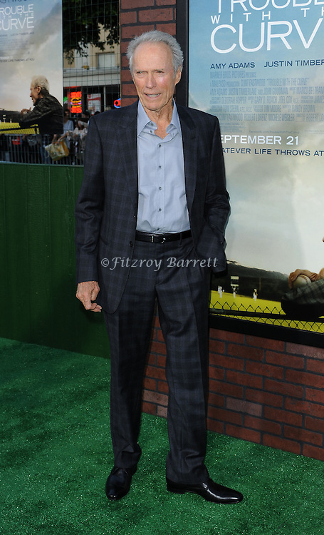 Clint Eastwood arriving at the Trouble With The Curve Premiere held at The  Village Theatre in Westwood, CA. September 19, 2012.