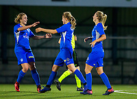 20190823 - OUD HEVERLEE BELGIUM : KRC Genk's Aster Janssens pictured celebrating her goal with Nikki Janssen (left) during the female soccer game between the OHL Ladies vs KRC Genk Ladies, the first game for both teams in the Belgian Women's Super League , Friday 23rd  August 2019 at the OHL Jeugdcomplex , Belgium . PHOTO SPORTPIX.BE | SEVIL OKTEM
