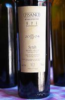 A bottle of Pisano RPF Reserva Personal de la Familia 2004 Syrah Progreso. Bodega Pisano Winery, Progreso, Uruguay, South America
