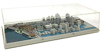 BNPS.co.uk (01202 558833)<br /> Pic: Sworders/BNPS<br /> <br /> An early architect's model that was used to attract global banking giants to Canary Wharf has emerged for sale at auction for £1,000.<br /> <br /> The scaled down replica was commissioned in 1988 when the building process was just getting underway and used by agents hunting for tenants.<br /> <br /> It closely resembles the iconic financial sector we know today with One Canada Square - Britain's tallest building when it opened - clearly visible.<br /> <br /> The model comes in a clear perspex case and was made on behalf of Olympia & York, who were the original developers of the site.