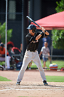 GCL Marlins center fielder Connor Scott (24) at bat during a game against the GCL Astros on August 5, 2018 at FITTEAM Ballpark of the Palm Beaches in West Palm Beach, Florida.  GCL Astros defeated GCL Marlins 2-1.  (Mike Janes/Four Seam Images)