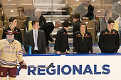 Teddy Doherty (BC - 4), Stephen Shea (BC - Student Manager), Brian Hurley (BC - Student Manager), Jerry York (BC - Head Coach), Kevin Pratt (BC - Student Manager), Joe Macri (BC - Student Manager), Matt Malloy (BC - Student Manager) - The Boston College Eagles defeated the University of Denver Pioneers 6-2 in their NCAA Northeast Regional semi-final on Saturday, March 29, 2014, at the DCU Center in Worcester, Massachusetts.