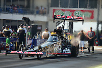 Sept. 22, 2012; Ennis, TX, USA: NHRA top fuel dragster driver Steve Torrence during qualifying for the Fall Nationals at the Texas Motorplex. Mandatory Credit: Mark J. Rebilas-