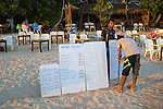 Menu boards for beach bar restaurant, Mirissa, Sri Lanka, Asia