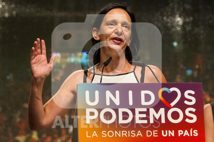 Spanish politician Carolina Bescansa of Unidos Podemos party, after the results of the national elections at plaza Reina Sofia, Spain. 26,06,2016. (ALTERPHOTOS/Rodrigo Jimenez)