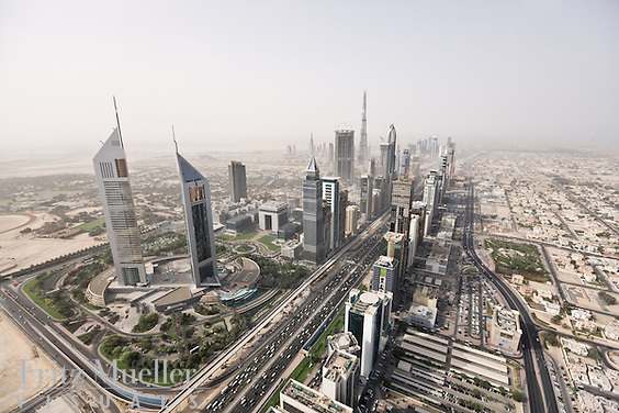 The Emirates Towers complex on Sheikh Zayed Road in Dubai, United Arab Emirates