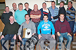 GOLFERS: Pictured at the Kerins O'Rahillys Golf Outing prizegiving night in the new clubhouse on Saturday night were, seated l-r: Denis Brosnan (captain), Martin Nix, Pat Madden and Declan Quill. Standing l-r: Will Bennett, John Scroope, Billy Daly, Liam Kingston, Mark O'Sullivan, Bernie Keane, Philip Conway, Shane Ronan and Johnny Keane.   Copyright Kerry's Eye 2008