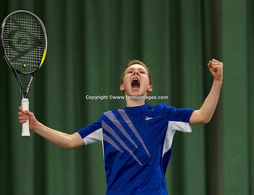 March 15, 2015, Netherlands, Rotterdam, TC Victoria, NOJK, Final boys 14 years, Lodewijk Westrate (NED) winns and jubilates<br /> Photo: Tennisimages/Henk Koster