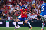 Saul (front) of Spain fights for the ball with Federico Bernardeschi (back) of Italy during their 2018 FIFA World Cup Russia Final Qualification Round 1 Group G match between Spain and Italy on 02 September 2017, at Santiago Bernabeu Stadium, in Madrid, Spain. Photo by Diego Gonzalez / Power Sport Images