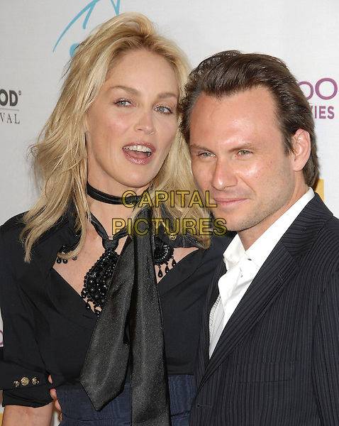 SHARON STONE & CHRISTIAN SLATER.attends The Hollywood Film Festival 10th Annual Hollywood Awards Gala held at The Beverly Hilton in Beverly Hills, California, USA, October 23rd 2006..portrait headshot.Ref: DVS.www.capitalpictures.com.sales@capitalpictures.com.©Debbie VanStory/Capital Pictures