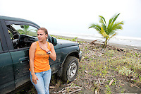 Vanessa is overwhelmed with grief as she visits for the first time (since the incident) the beach close to where Jairo was killed where they had planned to build a hatchery together.  Moin, Limon, Costa Rica.