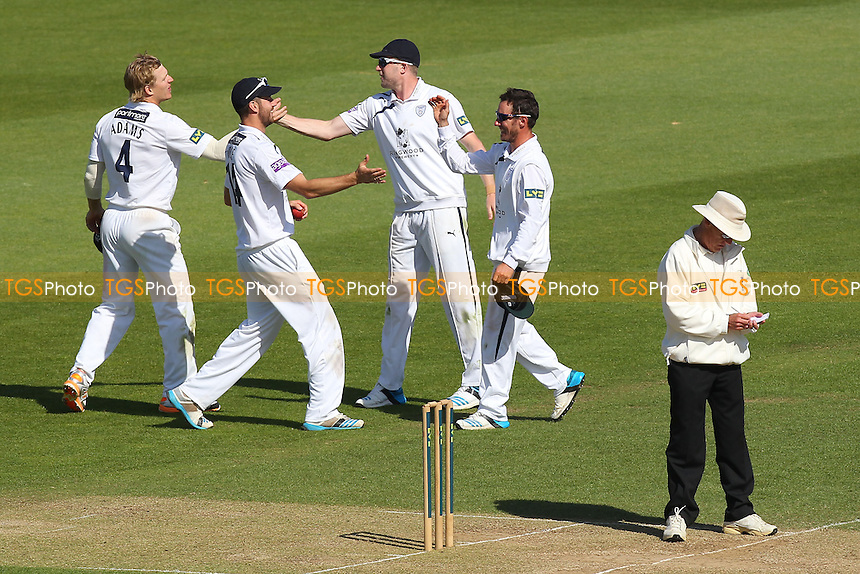 Will Smith of Hampshire (2nd R) is congratulated on taking the last Essex wicket, Tymal Mills - Hampshire CCC vs Essex CCC - LV County Championship Division Two Cricket at the Ageas Bowl, West End, Southampton - 17/06/14 - MANDATORY CREDIT: Gavin Ellis/TGSPHOTO - Self billing applies where appropriate - 0845 094 6026 - contact@tgsphoto.co.uk - NO UNPAID USE