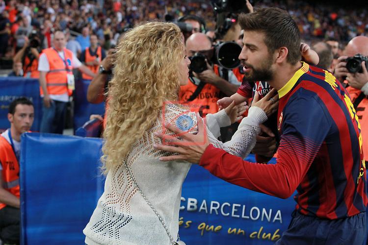 League BBVA 2013/2014 - Game: 04.<br /> 2013-09-14: FC Barcelona vs Sevilla FC: 3-2.<br /> Shakira &amp; Gerard Pique.