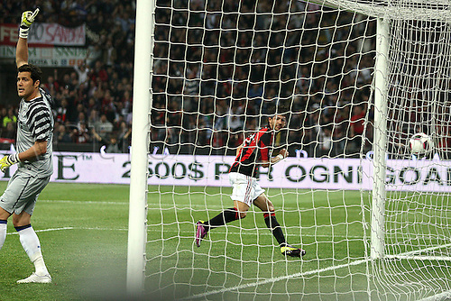 02 04 2011 AC Milan versus Inter Milan. Ceasar appeals for offside as  Pato  scores the  first Goal