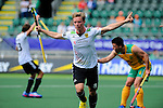 The Hague, Netherlands, June 01: Mats Grambusch #8 of Germany celebrates after scoring the 3:0 during the second half during the field hockey group match (Men - Group B) between Germany and South Africa on June 1, 2014 during the World Cup 2014 at Kyocera Stadium in The Hague, Netherlands. Final score 4:0 (2:0) (Photo by Dirk Markgraf / www.265-images.com) *** Local caption ***